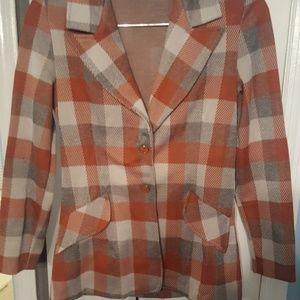 Stylish vintage orange and gray polyester blazer 8